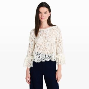 CLUB MONACO lace off white blouse tiered sleeve